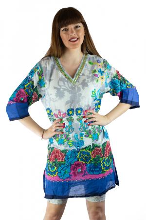 Rochie din bumbac cu imprimeu - Floral - Maneca Lunga [0]