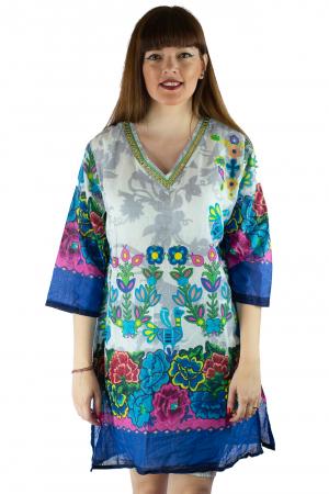 Rochie din bumbac cu imprimeu - Floral - Maneca Lunga [1]