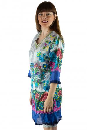 Rochie din bumbac cu imprimeu - Floral - Maneca Lunga [2]
