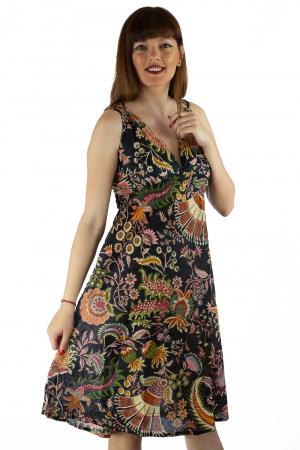 Rochie din bumbac cu imprimeu - Floral - Negru0