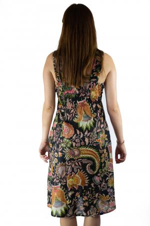 Rochie din bumbac cu imprimeu - Floral - Negru3