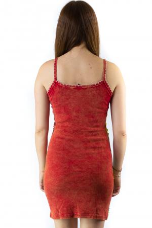 Rochie din bumbac multicolora - Razor cut - Rosu [1]