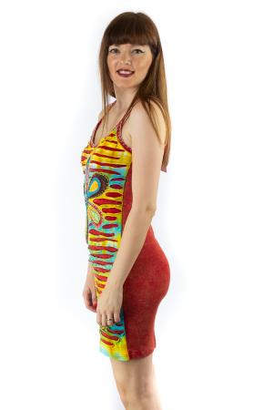 Rochie din bumbac multicolora - Razor cut - Rosu [2]