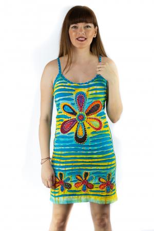 Rochie din bumbac multicolora - Razor cut - Albastru [0]