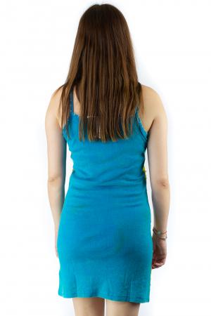 Rochie din bumbac multicolora - Razor cut - Albastru [3]