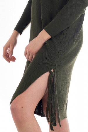 Rochie din bumbac - Verde Inchis [5]