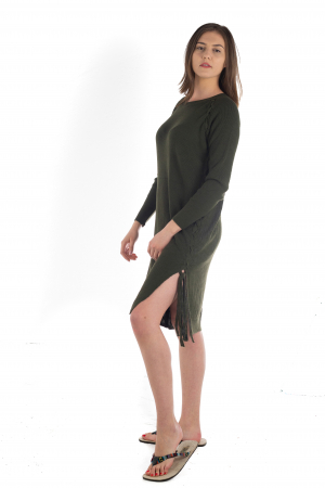 Rochie din bumbac - Verde Inchis [4]