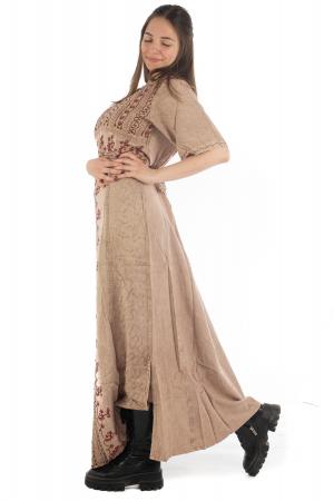Rochie lunga cu maneca lasata roz pal - 08.AF-202943
