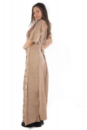 Rochie lunga cu maneca lasata roz pal - 08.AF-202946
