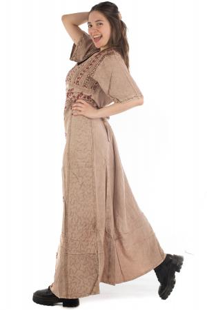 Rochie lunga cu maneca lasata roz pal - 08.AF-202945