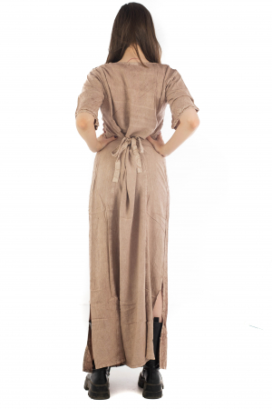 Rochie lunga cu maneca lasata roz pal - 08.AF-202947