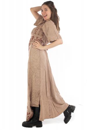 Rochie lunga cu maneca lasata roz pal - 08.AF-202944