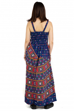 Rochie lunga din bumbac multicolora - Motive hinduse 1 [3]