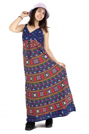 Rochie lunga din bumbac multicolora - Motive hinduse 1 [5]