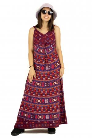 Rochie lunga din bumbac multicolora - Motive hinduse 3 [1]