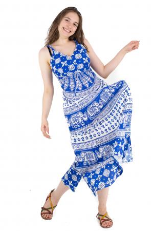 Rochie lunga din bumbac multicolora - Motive hinduse 5 [4]