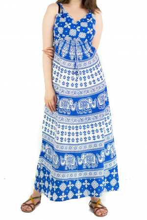 Rochie lunga din bumbac multicolora - Motive hinduse 5 [0]