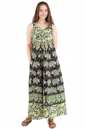 Rochie lunga din bumbac multicolora - Motive hinduse 8 [1]