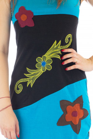 Rochie medie din bumbac - Flowers2