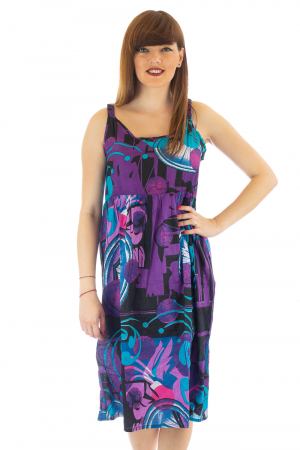 Rochie medie din bumbac cu print abstract1