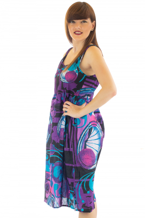 Rochie medie din bumbac cu print abstract3