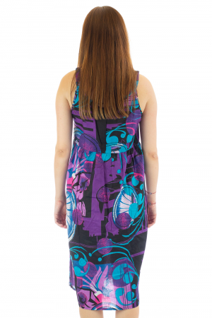 Rochie medie din bumbac cu print abstract6