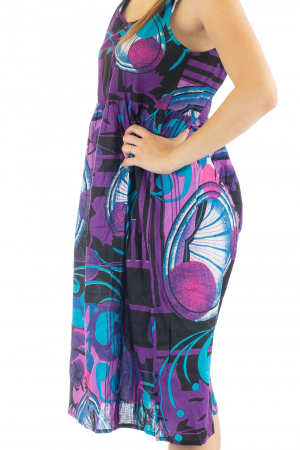 Rochie medie din bumbac cu print abstract4