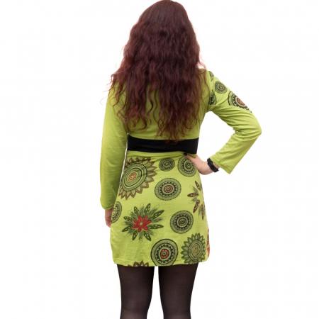 Rochie din bumbac verde cu mandala florala HI29132