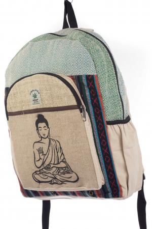 Rucsac din canepa si bumbac - Buddha 5 Albastru1