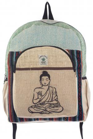 Rucsac din canepa si bumbac - Buddha 5 Albastru0