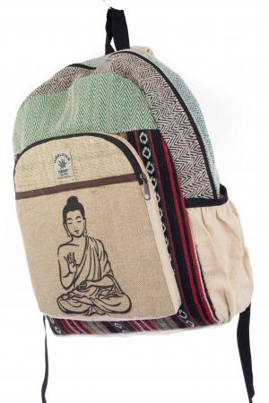 Rucsac din canepa si bumbac - Buddha 7 Verde1