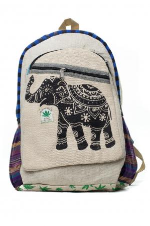 Rucsac din canepa si bumbac - Namaste elephant - Leaf motif [0]