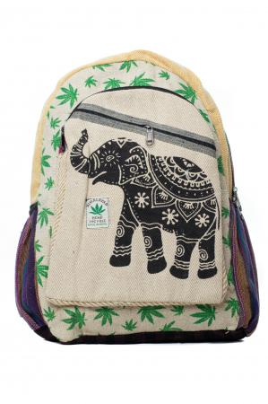 Rucsac din canepa si bumbac - Namaste elephant - Leaf motif [10]