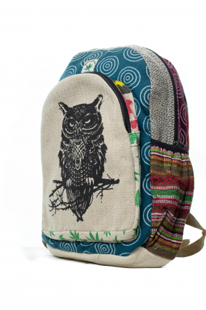 Rucsac din canepa si bumbac -Black Owl - Leaf motif [6]