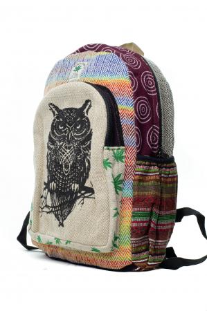 Rucsac din canepa si bumbac -Black Owl - Leaf motif [1]