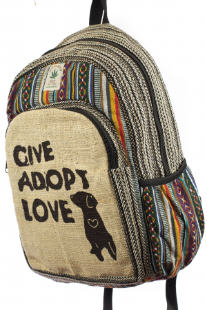 Rucsac din canepa si bumbac - Give Adopt Love [1]