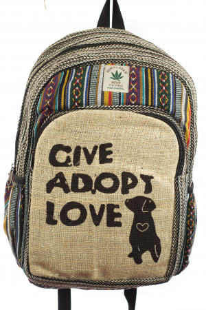 Rucsac din canepa si bumbac - Give Adopt Love [0]