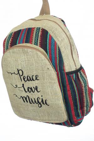 Rucsac din canepa si bumbac - Peace, Love, Music 31