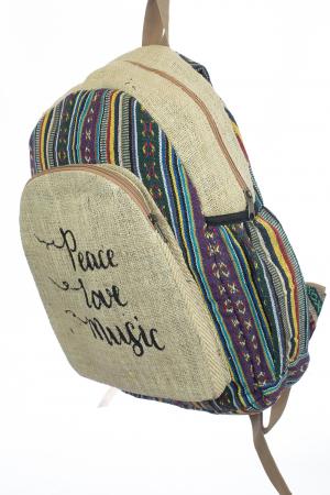Rucsac din canepa si bumbac - Peace, Love, Music 41