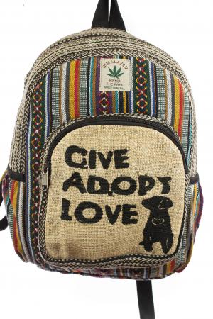 Rucsac mic din canepa si bumbac - Give, Adopt, Love0