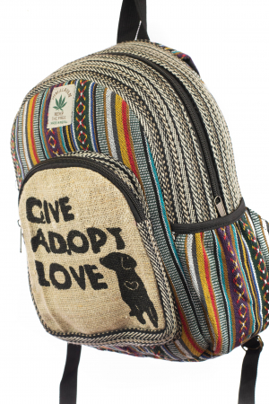 Rucsac mic din canepa si bumbac - Give, Adopt, Love1