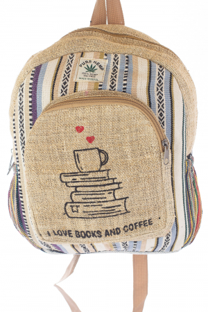 Rucsac mic unicat din canepa si bumbac - Books and Coffee 20