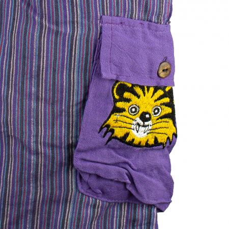Salopeta colorata de copii cu buzunare- Tigru M31
