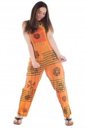 Salopeta portocalie cu print1