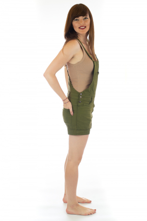 Salopeta scurta din bumbac - Verde Inchis [3]