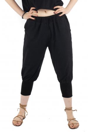 Pantaloni trei sferturi simpli - Negru [0]