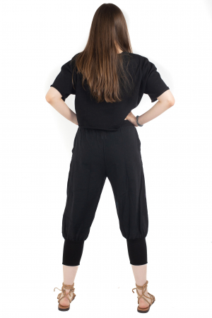 Pantaloni trei sferturi simpli - Negru [3]