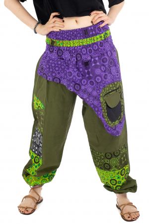 Pantaloni hippie kaki si mov - Motive abstracte [0]