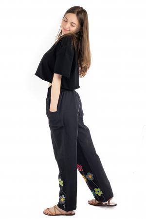 Pantaloni cu talie elastica - Broderie florala [3]