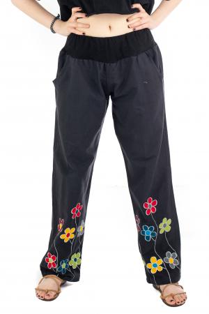 Pantaloni cu talie elastica - Broderie florala [0]
